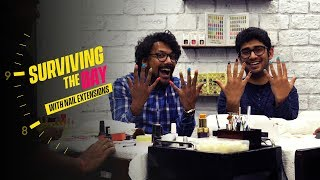 Surviving The Day With Nail Extensions | Ft. Luke & Akshay | Ok Tested
