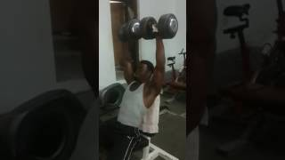 obote innah   Dumbell shoulder press 90kg two reps stunts