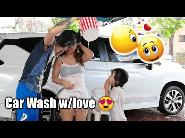 Happy Family Car Wash Time