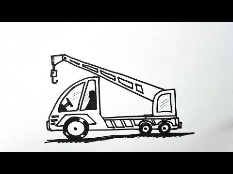 วาดรูป รถเครน รถยก How to draw a Crane