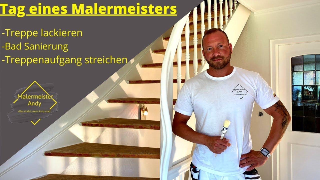 Treppe lackieren / Bad Sanierung/ Tag eines Malermeisters
