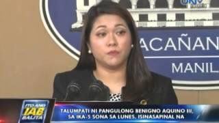 Talumpati ni Pres. Benigno Aquino III sa ika-5 SONA sa Lunes, isinasapinal na