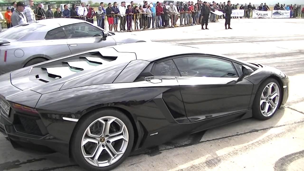 lamborghini aventador 700 hp vs. nissan gtr 700 hp - youtube