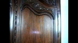 Most Attractive French Provincial Heavily Carved Solid Oak Armoire -1880s