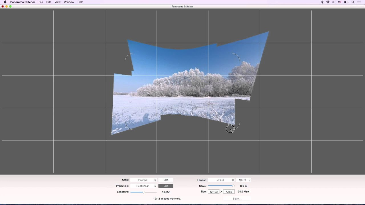 Step by step Panorama Stitcher for Mac example