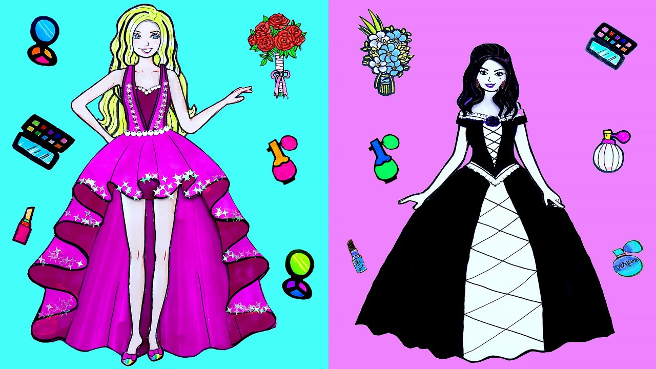 Paper Dolls Dress Up Costumes Prom Leg Long & Short Simple Papercrafts Dresses Handmade Quiet Book