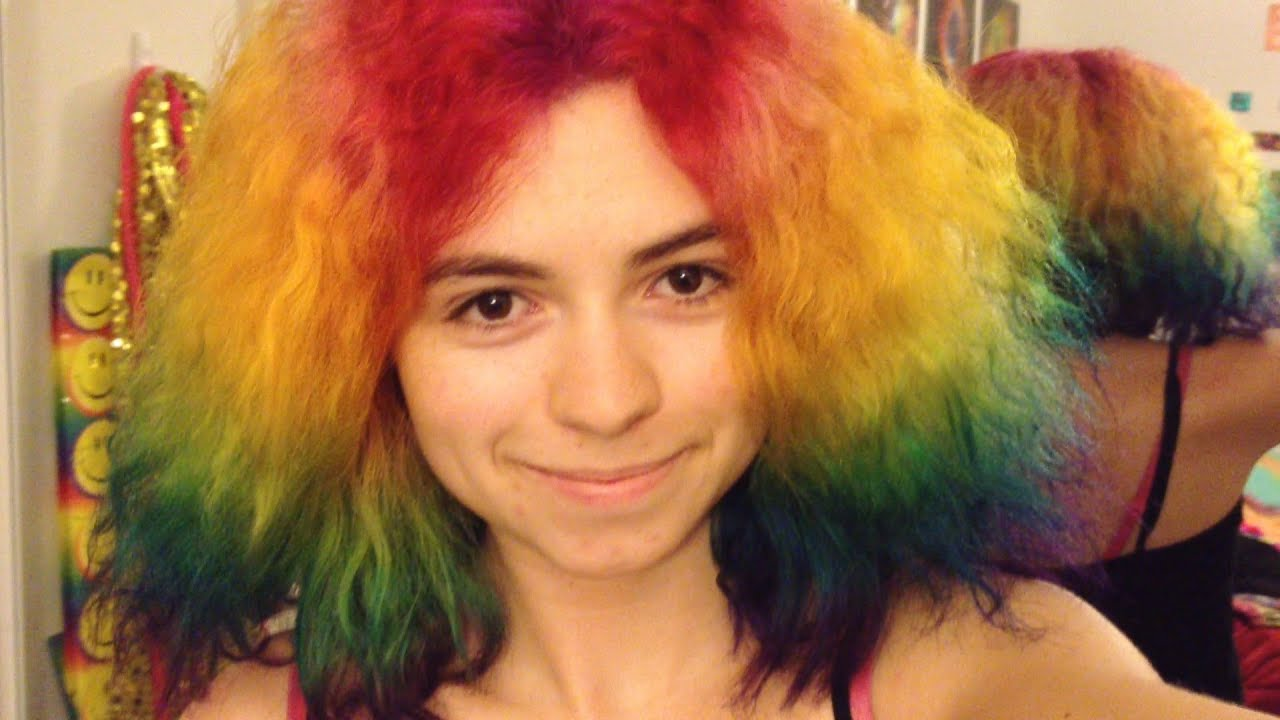 How to Dye Your Hair Rainbow! - YouTube