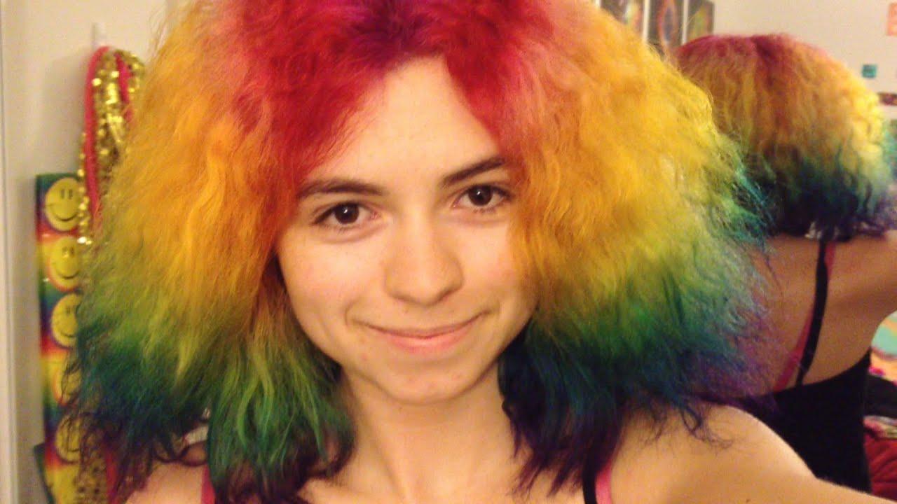 How to Dye Your Hair Rainbow! - YouTube