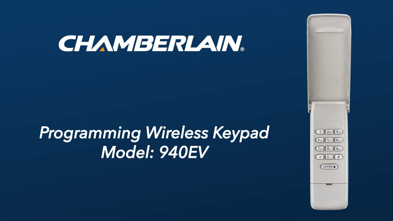 How To Program Chamberlain S 940ev Wireless Keypad To A Garage Door Opener Youtube