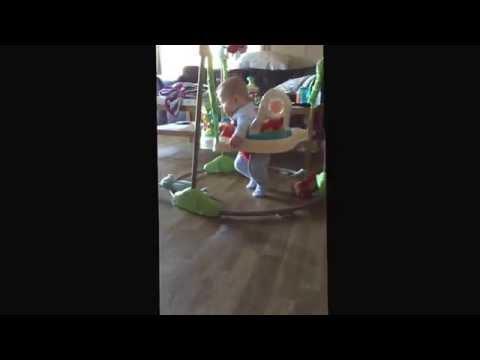 Funny Sleepy baby bounce!