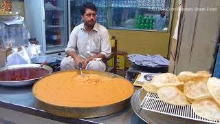 Peshawar Famous Channa Bhature &  Halwa Pori Only 15 R.s | Pakistani Street Food