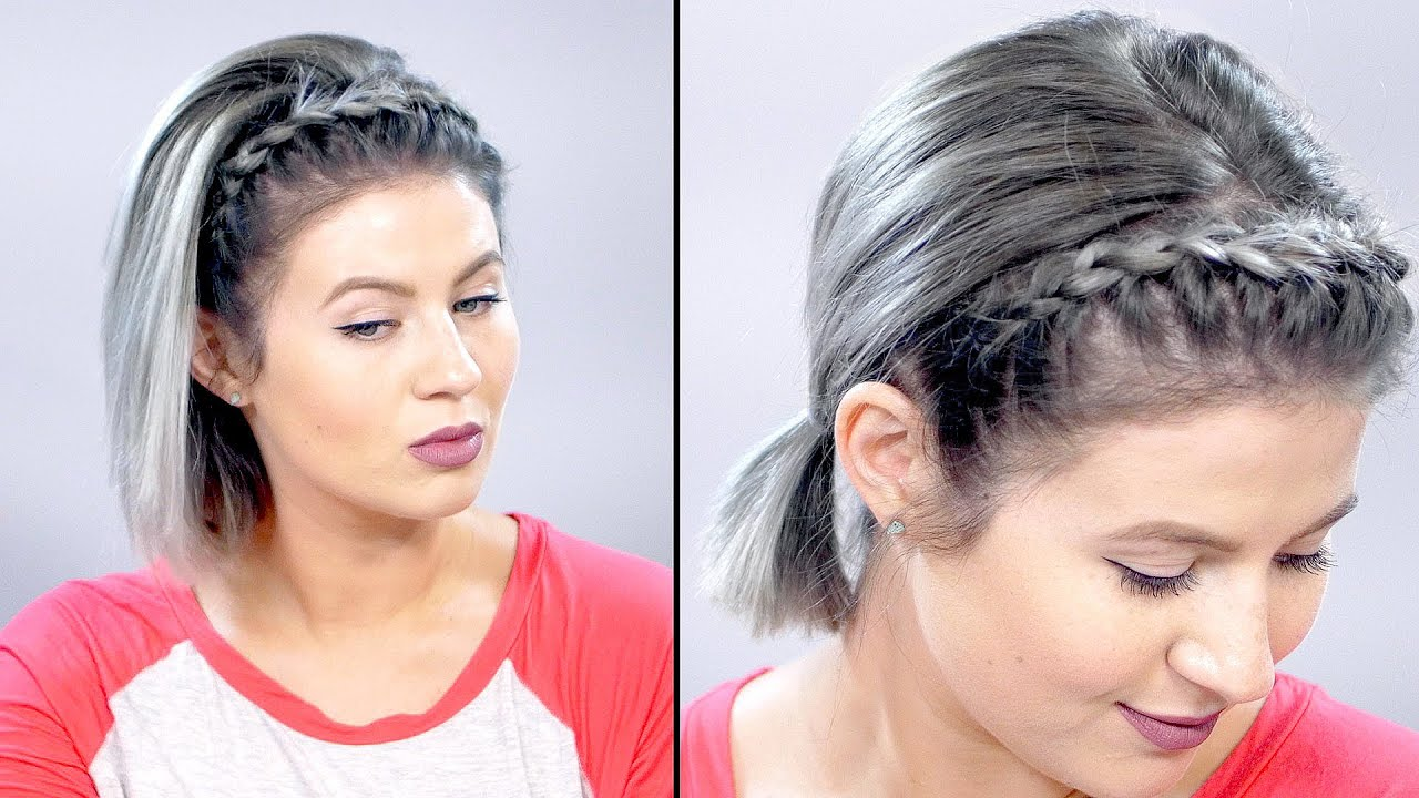 how to: lace braid headband on short hair tutorial | milabu
