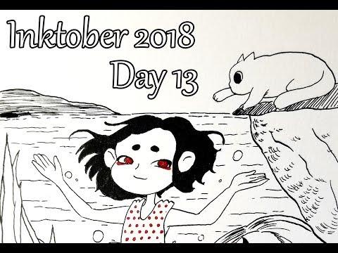 Inktober. Day 13. Diving