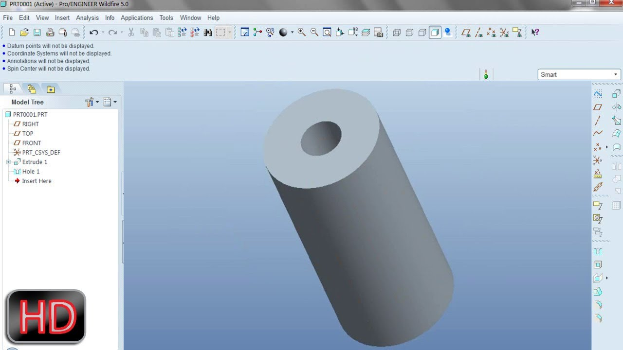 7c25225e6 Creating a concentric hole on a cylinder Video Tutorial Pro E Wildfire 5.0  - YouTube
