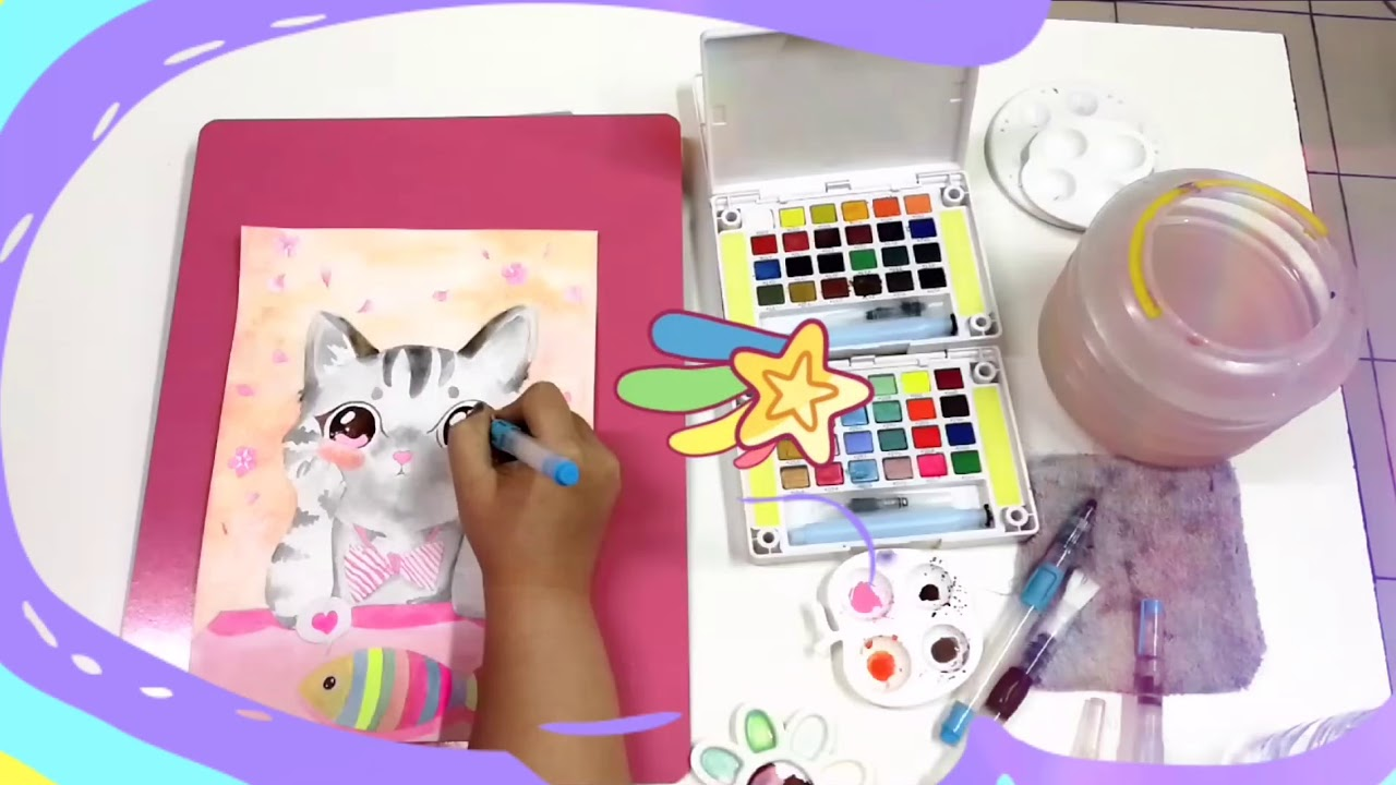 Cat Painting in Watercolor #animals #cat #cartoon #sirinartcore