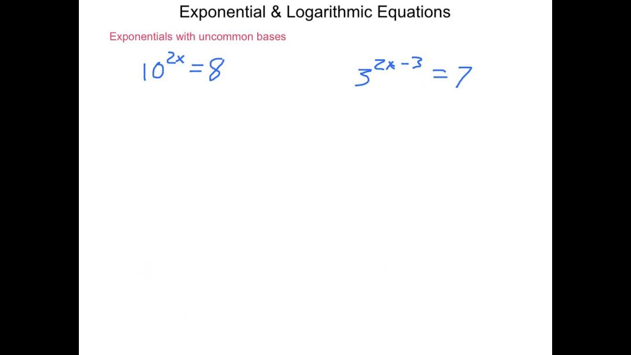 worksheet Solving Exponential And Logarithmic Equations Worksheet algebra2 7 5 exponential logarithmic equations youtube equations