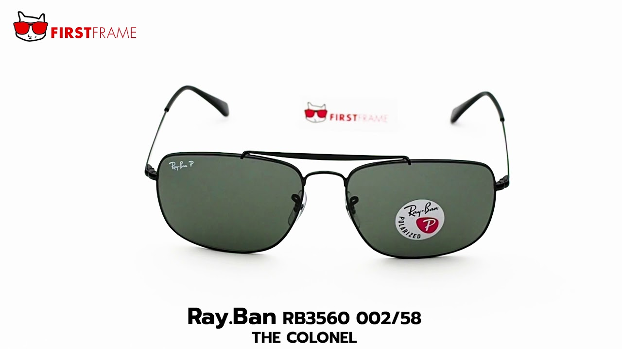 6f45ae3f06 RayBan RB3560 002 58 THE COLONEL - YouTube