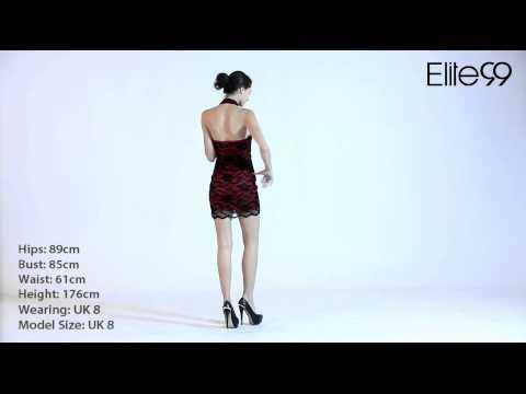 Sexy Stand Collar Halter Sleeveless Slim Lace Bodycon Dress