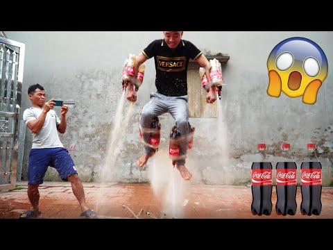 Thử Gắn Tên Lửa Coca Vào Người | Rocket Cocacola | PHD Troll