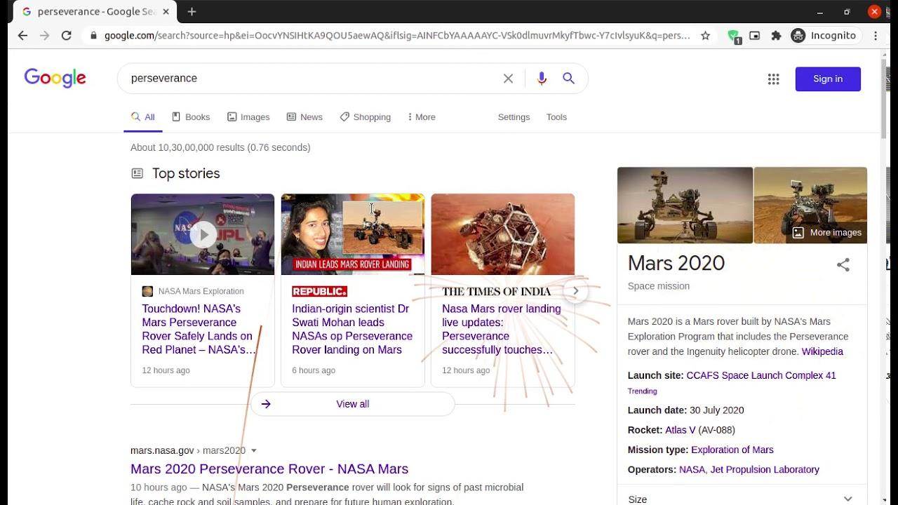 "Google Celebrates ""Perseverance"" - Mars rover - NASA"