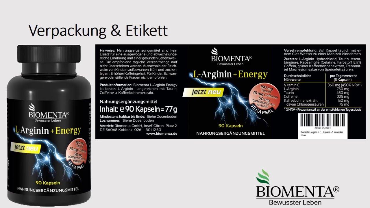 l arginin energy top produkt biomenta youtube