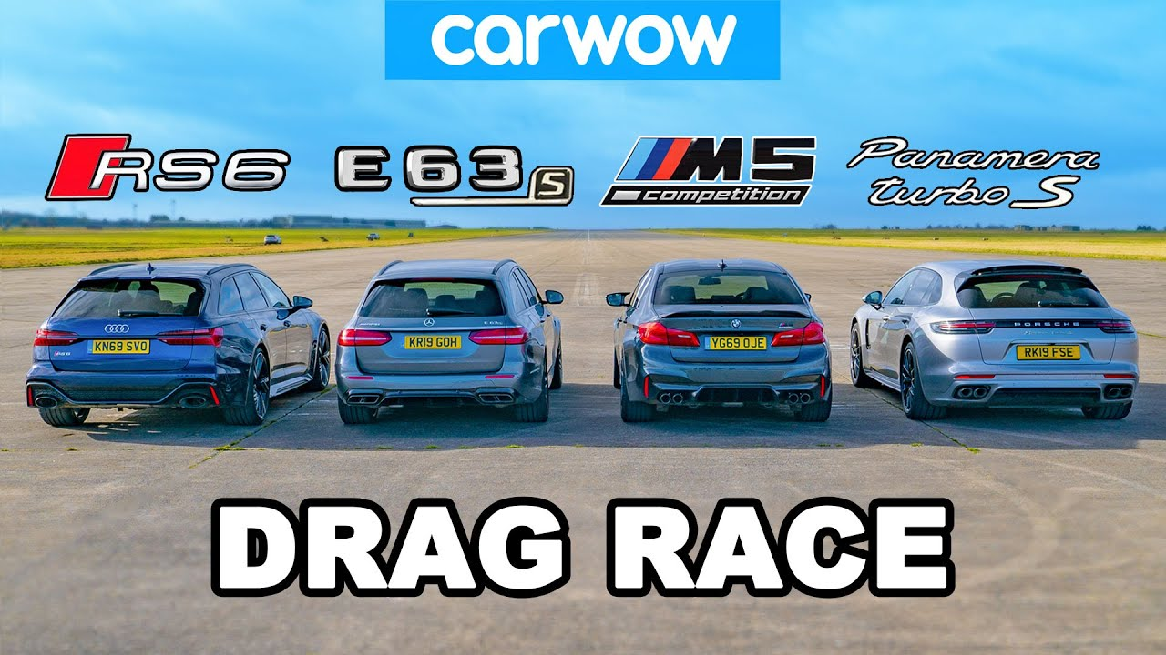 (VIDEO) - Audi RS6 v BMW M5 v AMG E63 v Porsche Panamera - (DRAG RACE)