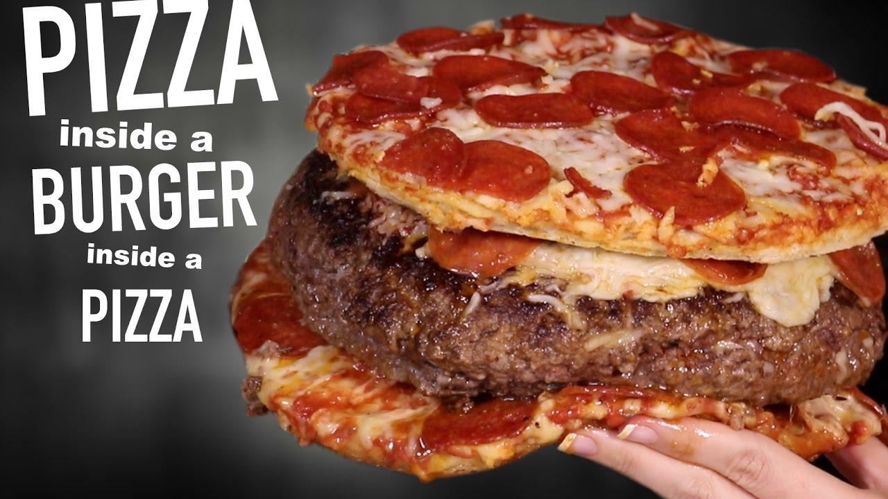 Burger z pizzą w pizzy - prawdziwa bomba kaloryczna!