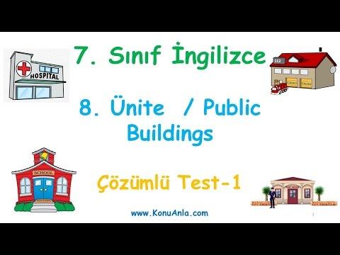 7. Sınıf İngilizce / 8. Ünite / Public Buildings / Çözümlü Test-1
