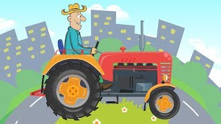 Farmer's work with a Red Tractor - Agricultural vechicles Kids | Cartoons for kids about tractors