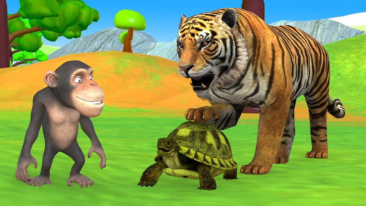 होशियार बंदर कछुआ और बाघ कहानी - Hindi Kahaniya - Panchatantra Moral Stories - 3D Hindi Fairy Tales