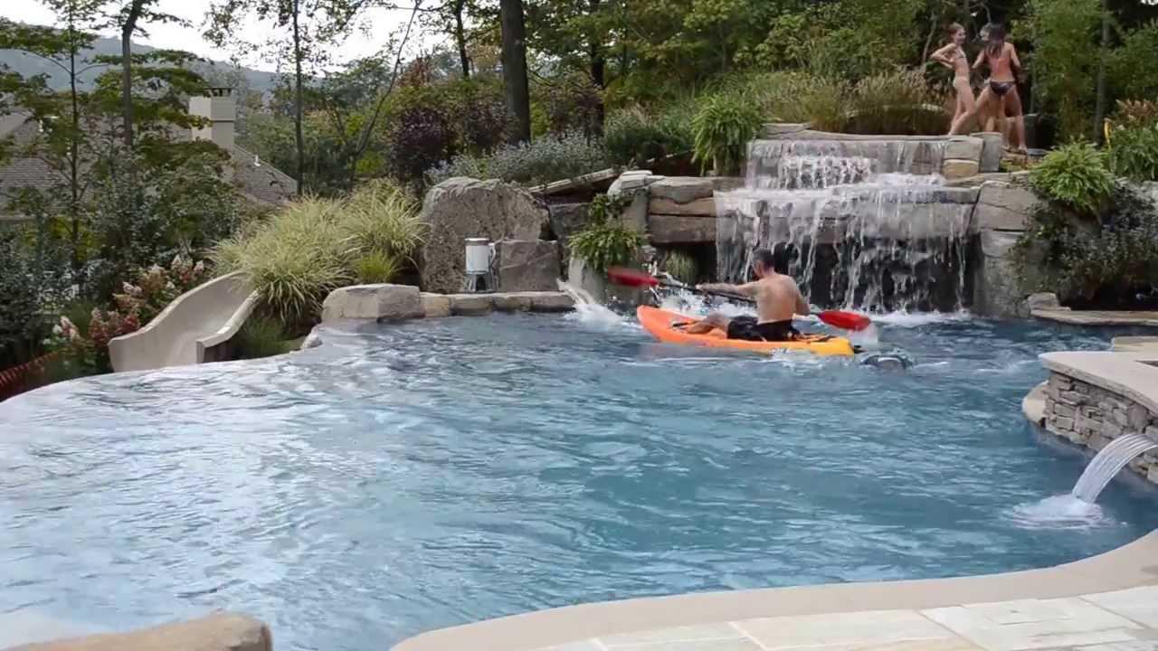 Fun Inground Swimming Pool Design with Slide & Kayaking ...