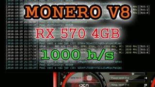 1000 хэшей на V8 с RX570 4GB
