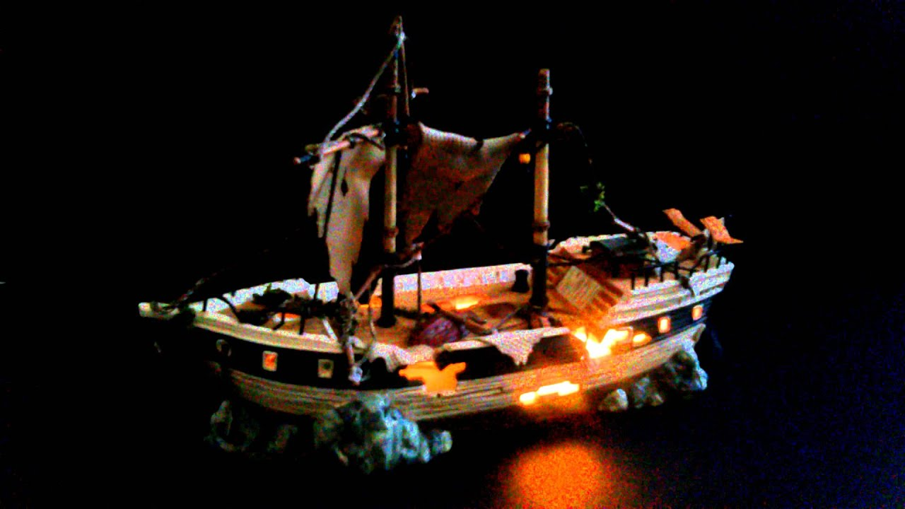 dept 56 snow village halloween spooky schooner pirate ship youtube