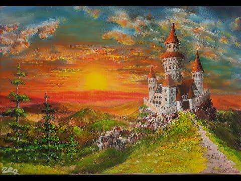 Acrylic Painting Castle Landscape at Sunset / Akrilik Resim Gün batımında Şato Manzarası çizmek