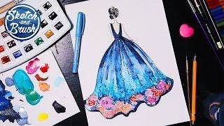 Уроки рисования: Как нарисовать девушку в платье. Фэшн иллюстрация.