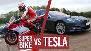 Tesla P100D VS Superbike!