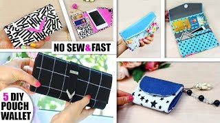 5 DIY WALLET PURSES AWESOME DESIGN // Handmade Purse Wallet Jeans Recycle