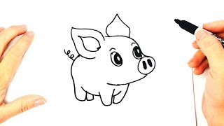 How to draw a Piggy or Piglet or Little Pig