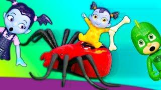 Paw Patrol Rubble and PJ Masks Gekko Help Vampirina Babysit Baby Vampire at Scare B n B