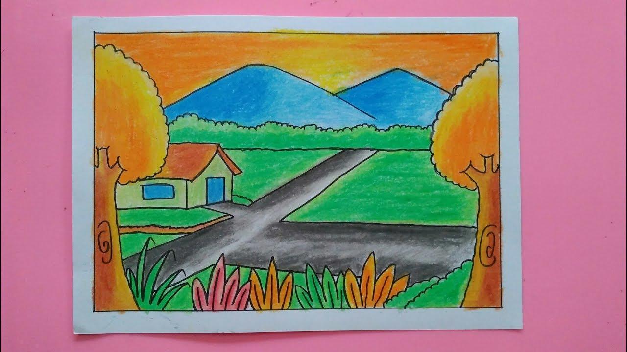 Cara Mewarnai Pemandangan Alam Gunung Sawah Gradasi Warna Oil Pastel Part 2