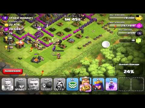 Clash Of Clans - Hero Abilities (Iron Fist + Royal Cloak) Gameplay