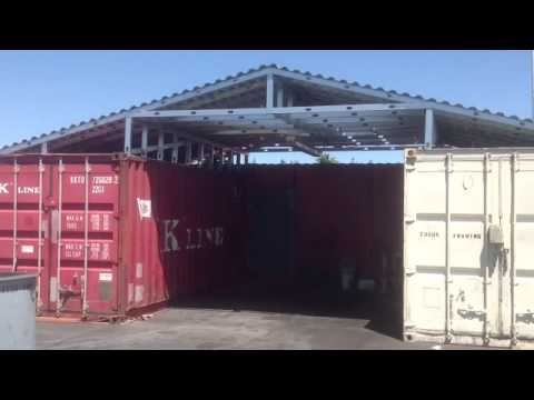 Steel Metal Roof Over Two Shipping Containers Youtube