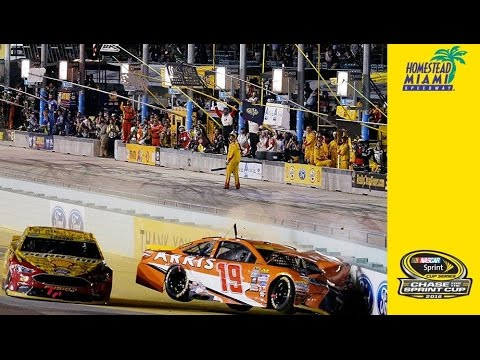 Edwards and Logano tangle with 10 to go collecting several drivers