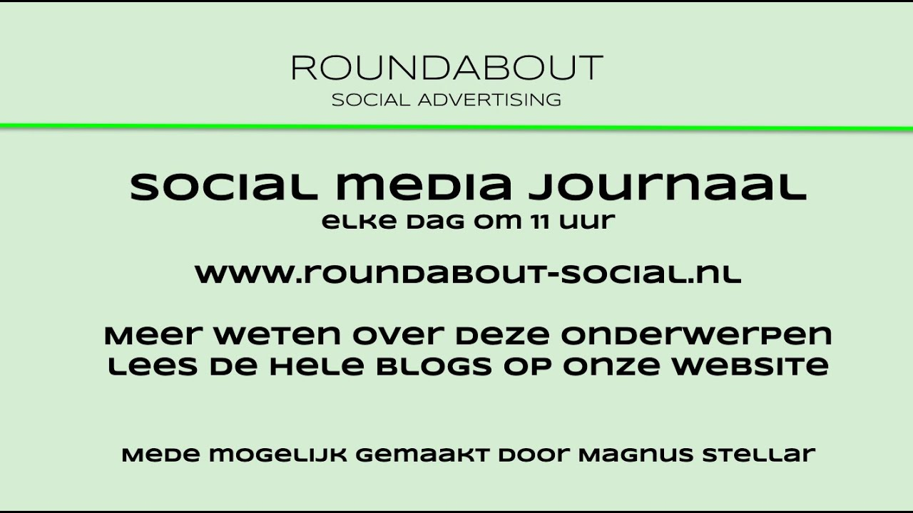 Roundabout social media journaal 22 april 2020