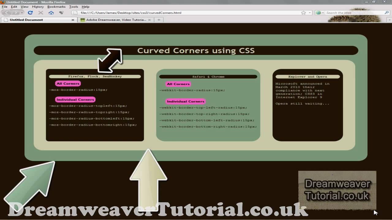 Css3 Rounded Corners Web Design Tutorial Dreamweaver Youtube