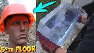 EXPERIMENT: HARD HAT VS GIANT ICE BLOCK, BRICK & WATERMELON CHALLENGE!