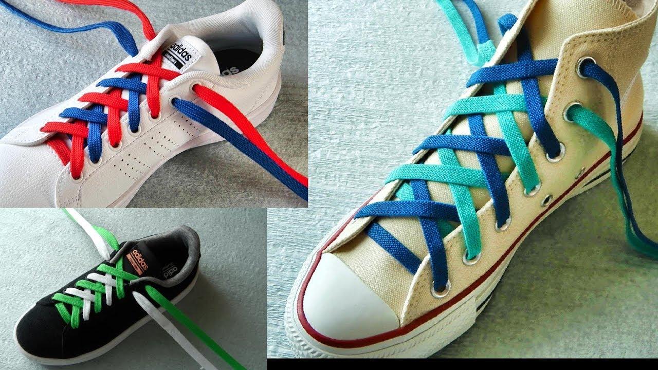 〔靴紐の結び方〕2色のひもを使ってカラフルな靴ひもの通し方 ダブル結び how to tie shoelaces 〔生活に役立つ!〕