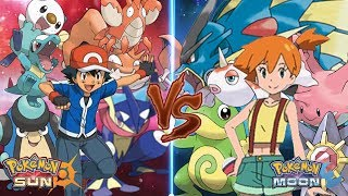 Pokemon Sun and Moon: Ash Water Type Vs Misty