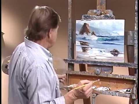 Пишем море маслом на холсте, закат, волна (кисть, мастихин) Игорь Сахаров Уроки живописи
