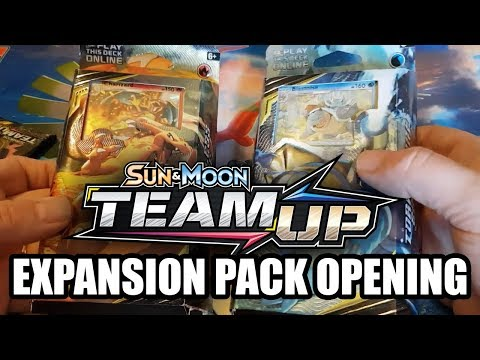 Opening POKEMON SUN & MOON TEAM UP Expansion Packs